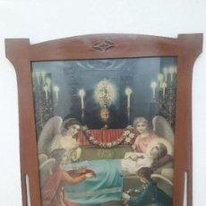 Antigüedades: MARCO , CUADRO MODERNISTA CON LAMINA RELIGIOSA. Lote 141706174
