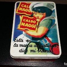 Antigüedades: ANTIGUA CAJA CALDO MAGI, ESTA ES LA MARCA DE CALIDAD DICE MI MAMA GASTOS ENVIO INCLUIDOS. Lote 141710994