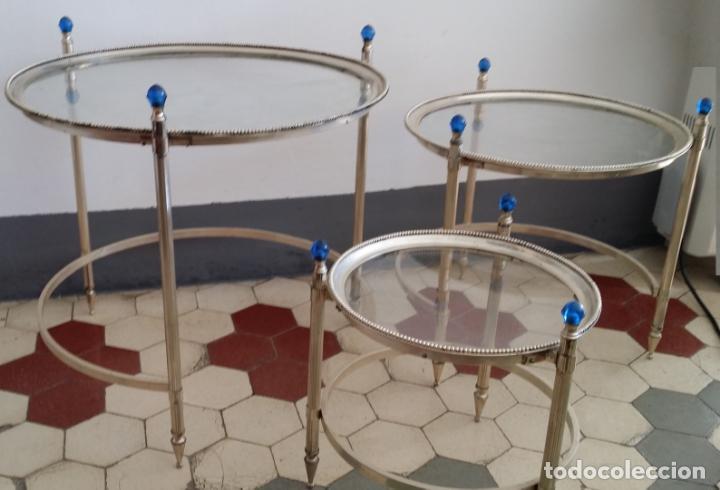 Antigüedades: Tres (3) antiguas mesas / mesitas nido - Foto 7 - 141724526