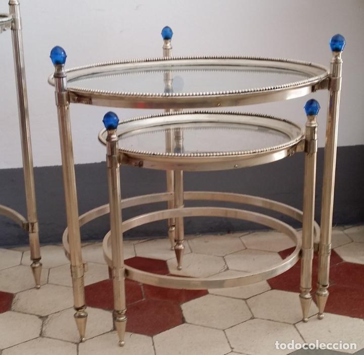 Antigüedades: Tres (3) antiguas mesas / mesitas nido - Foto 8 - 141724526