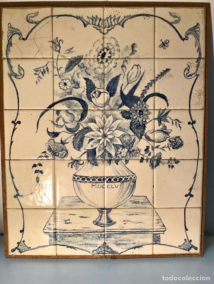 PANEL CERÁMICO. BODEGÓN FLORAL AZUL COBALTO. CERÁMICA DELFT AL ESTILO DEL SIGLO XVIII. (Antigüedades - Porcelana y Cerámica - Holandesa - Delft)