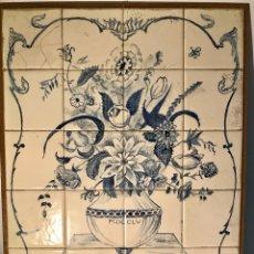 Antigüedades: PANEL CERÁMICO. BODEGÓN FLORAL AZUL COBALTO. CERÁMICA DELFT AL ESTILO DEL SIGLO XVIII.. Lote 141762253