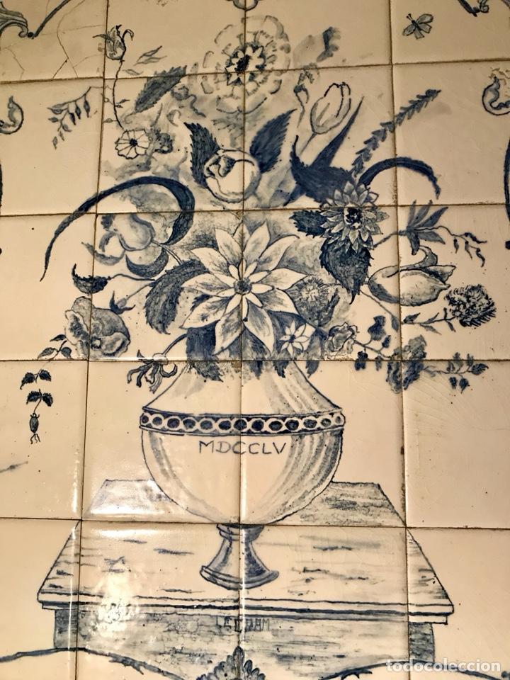 Antigüedades: Panel cerámico. Bodegón floral azul cobalto. Cerámica Delft al estilo del siglo XVIII. - Foto 3 - 141762253