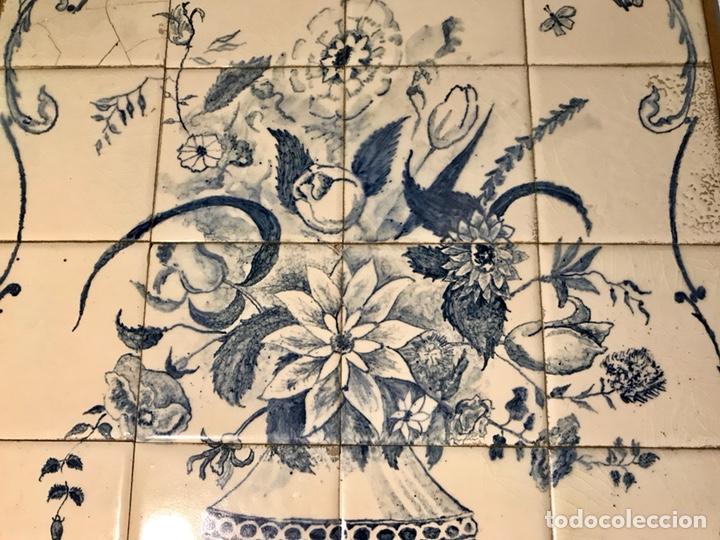 Antigüedades: Panel cerámico. Bodegón floral azul cobalto. Cerámica Delft al estilo del siglo XVIII. - Foto 4 - 141762253