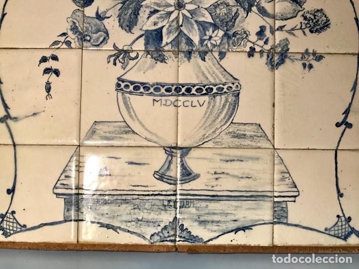 Antigüedades: Panel cerámico. Bodegón floral azul cobalto. Cerámica Delft al estilo del siglo XVIII. - Foto 5 - 141762253
