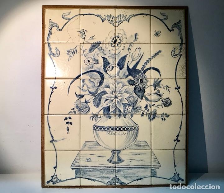 Antigüedades: Panel cerámico. Bodegón floral azul cobalto. Cerámica Delft al estilo del siglo XVIII. - Foto 6 - 141762253