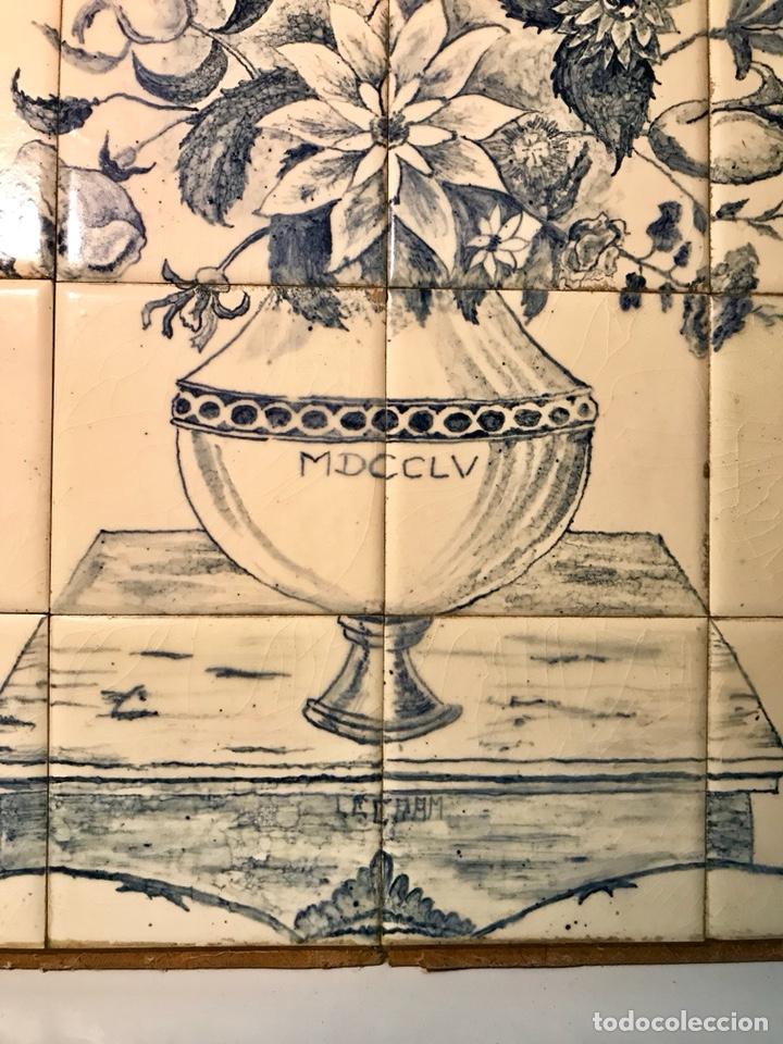 Antigüedades: Panel cerámico. Bodegón floral azul cobalto. Cerámica Delft al estilo del siglo XVIII. - Foto 7 - 141762253