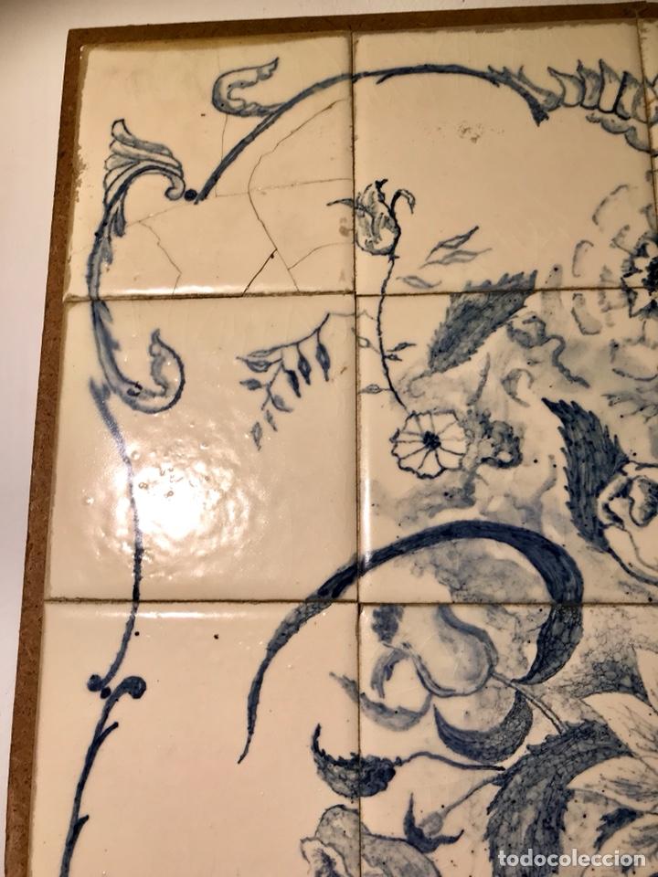 Antigüedades: Panel cerámico. Bodegón floral azul cobalto. Cerámica Delft al estilo del siglo XVIII. - Foto 8 - 141762253