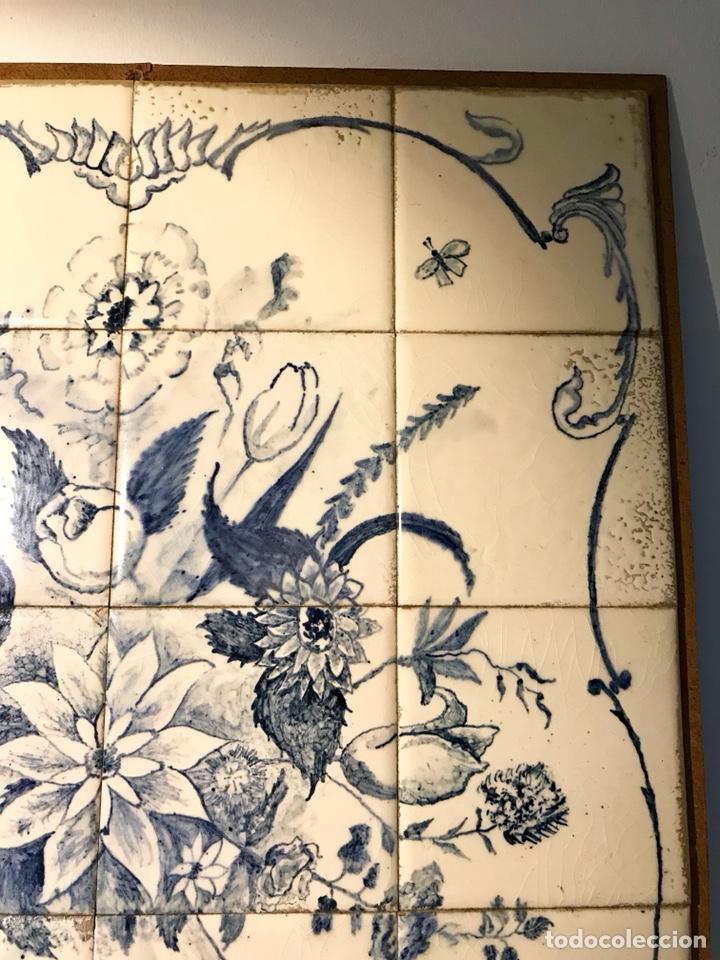 Antigüedades: Panel cerámico. Bodegón floral azul cobalto. Cerámica Delft al estilo del siglo XVIII. - Foto 9 - 141762253