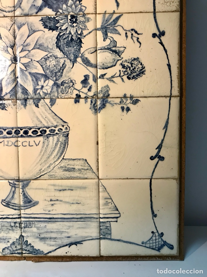 Antigüedades: Panel cerámico. Bodegón floral azul cobalto. Cerámica Delft al estilo del siglo XVIII. - Foto 10 - 141762253