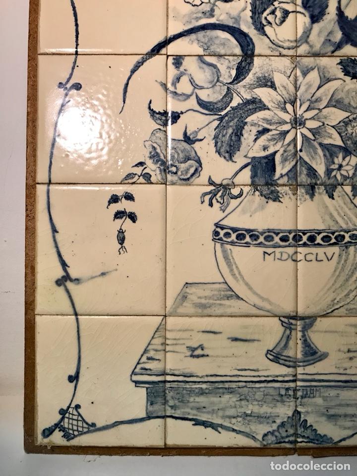 Antigüedades: Panel cerámico. Bodegón floral azul cobalto. Cerámica Delft al estilo del siglo XVIII. - Foto 11 - 141762253