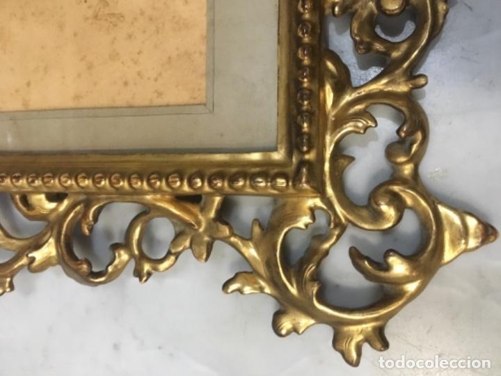 Antigüedades: (M) Antiguo Marco cornocopia de talla y dorada con pan de oro . S. XIX original no reproducción Buen - Foto 3 - 141785066