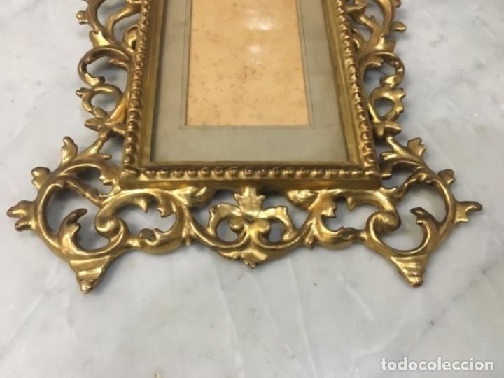 Antigüedades: (M) Antiguo Marco cornocopia de talla y dorada con pan de oro . S. XIX original no reproducción Buen - Foto 4 - 141785066