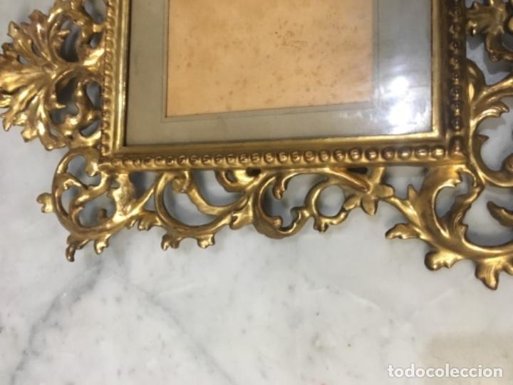 Antigüedades: (M) Antiguo Marco cornocopia de talla y dorada con pan de oro . S. XIX original no reproducción Buen - Foto 5 - 141785066
