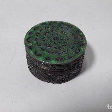 Antigüedades: CAJITA EN PLATA DE LEY 925 Y ESMALTE , MEDIDAS 2X3,5 CM. , BUEN ESTADO. Lote 141797106