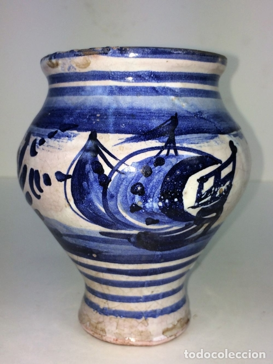 Antigüedades: PEQUEÑO JARRÓN. CERÁMICA ESMALTADA EN AZUL. MANISES. ESPAÑA. XIX-XX - Foto 3 - 141801042