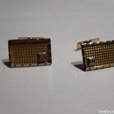 Antigüedades: GEMELOS DE ORO Y ORO BLANCO 18 K CON PUNTA BRILLANTE. Lote 141802938