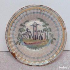Antigüedades: PLATO HONDO LEVANTE (MANISES?) - CASETAS LEVANTINAS - PLISADO -DIÁMETRO 25 CM. Lote 141806290