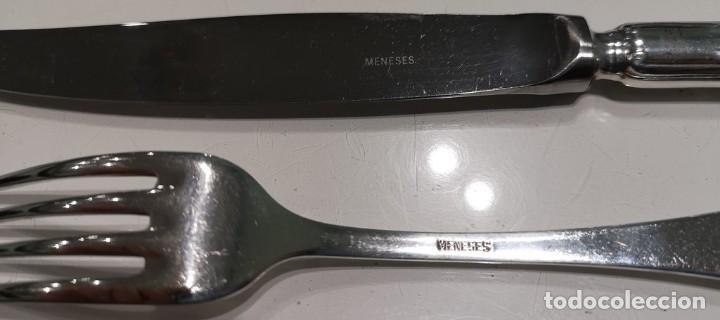 Antigüedades: Juego de dos cuchillos y dos tenedores de alpaca,Meneses. - Foto 3 - 141814270