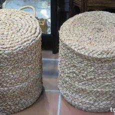 Antigüedades: PAREJA DE TABURETES REALIZADOS CON ESPARTO. Lote 141840990