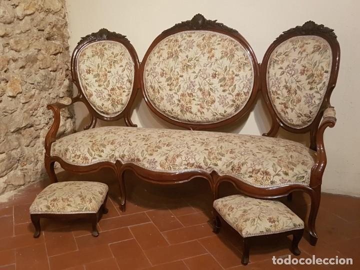 SOFÁ ISABELINO MEDALLONES CAOBA (Antigüedades - Muebles Antiguos - Sofás Antiguos)