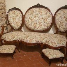Antigüedades: SOFÁ ISABELINO MEDALLONES CAOBA. Lote 141853650