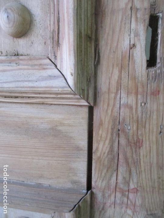 Antigüedades: Puerta Antigua - Madera de Pino y Haya - 2 Caras - Puerta Entrada, Habitación - S. XIX - Foto 5 - 141865698