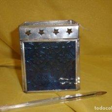 Antigüedades: PORTA VELAS METAL CROMADO, CRISTAL AZUL, MEDIDAS 9,5 X 8,5 X 8,5 CM, NUEVO SIN USAR.. Lote 141876818