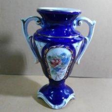 Antigüedades: JARRON DE PORCELANA - AZUL COBALTO Y ORO - CON SELLO. Lote 141910562