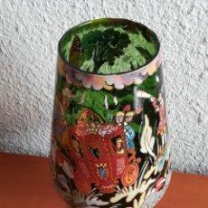 Antigüedades: GRAN COPA COPÓN CRISTAL VERDE PINTADA A MANO FIRMA ROYO - GAYARRE - CARROZA REYES. Lote 141910592