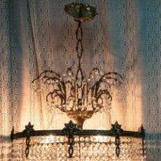 Antigüedades: LAMPARA DE CRISTAL DE COMEDOR. Lote 141913594