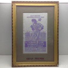 Antigüedades: TAPIZ PUBLICITARIO - MAQUINARIA TEXTIL -FERNANDO CARNE - EXPOSICION INTERNACIONAL DE BARCELONA 1929 . Lote 141979794