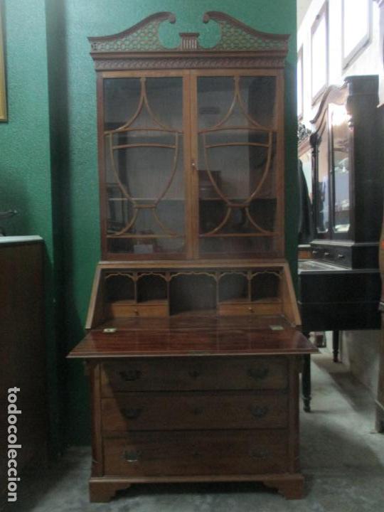 ESCRITORIO - VITRINA, LIBRERÍA - ESTILO VICTORIANO - MADERA DE CAOBA - AÑOS 40 (Antigüedades - Muebles Antiguos - Escritorios Antiguos)