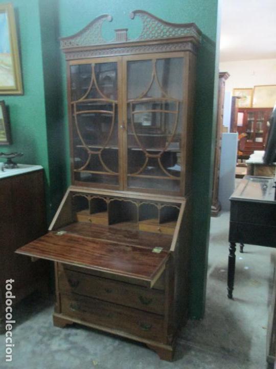 Antigüedades: Escritorio - Vitrina, Librería - Estilo Victoriano - Madera de Caoba - Años 40 - Foto 15 - 142020958