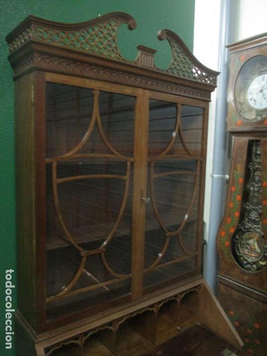 Antigüedades: Escritorio - Vitrina, Librería - Estilo Victoriano - Madera de Caoba - Años 40 - Foto 23 - 142020958