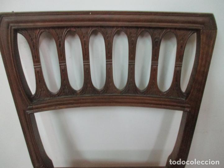 Antigüedades: 8 Sillas de Comedor - Silla Madera Sapeli - Fina Talla de madera - Tapicería en Piel - Años 40 - Foto 10 - 157318212