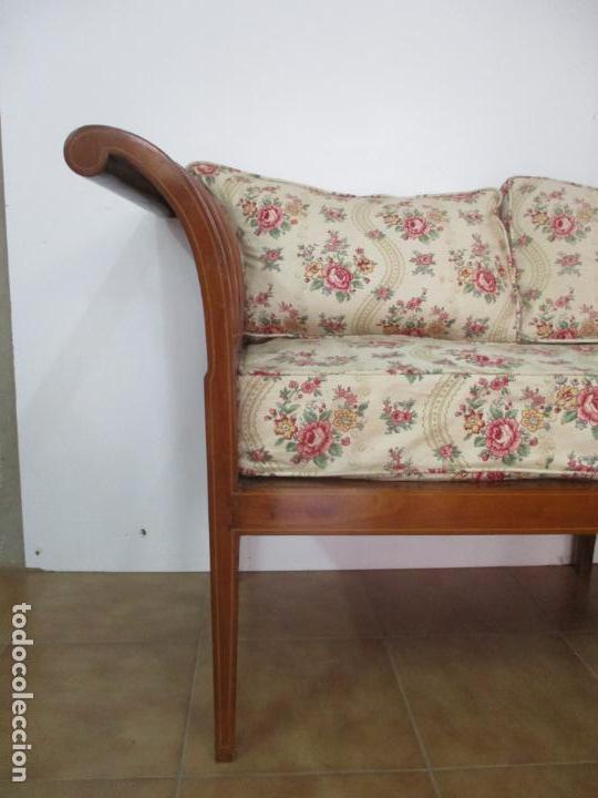 Antigüedades: Antiguo Sofá, Canapé Isabelino - Madera de Caoba - Marquetería - Bonita Tapicería - S. XIX - Foto 3 - 142025238