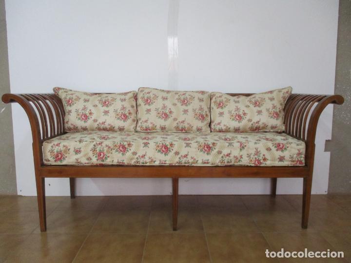 Antigüedades: Antiguo Sofá, Canapé Isabelino - Madera de Caoba - Marquetería - Bonita Tapicería - S. XIX - Foto 7 - 142025238