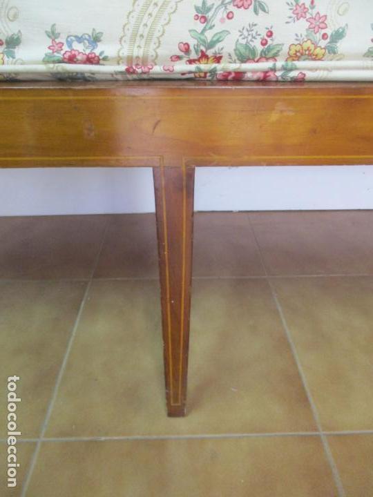 Antigüedades: Antiguo Sofá, Canapé Isabelino - Madera de Caoba - Marquetería - Bonita Tapicería - S. XIX - Foto 8 - 142025238