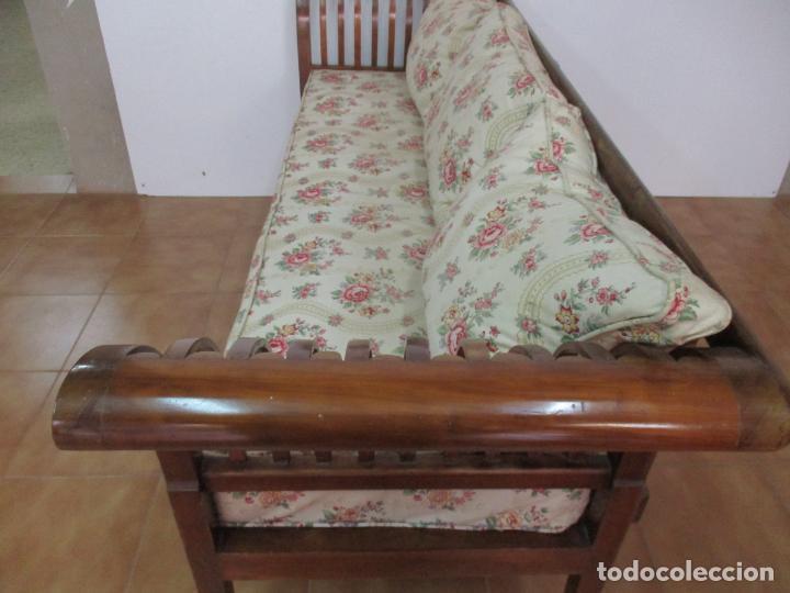 Antigüedades: Antiguo Sofá, Canapé Isabelino - Madera de Caoba - Marquetería - Bonita Tapicería - S. XIX - Foto 14 - 142025238