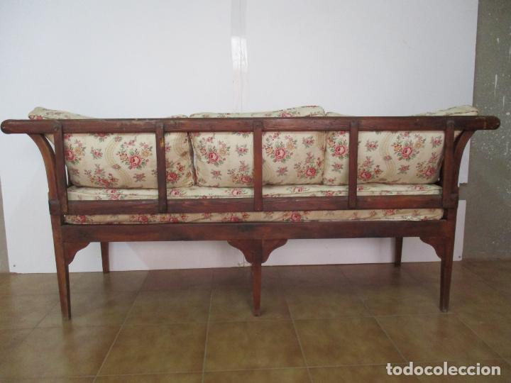 Antigüedades: Antiguo Sofá, Canapé Isabelino - Madera de Caoba - Marquetería - Bonita Tapicería - S. XIX - Foto 15 - 142025238