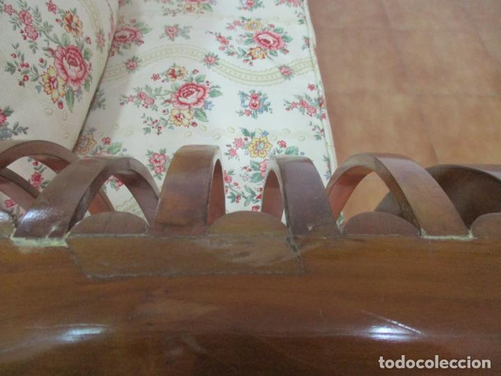 Antigüedades: Antiguo Sofá, Canapé Isabelino - Madera de Caoba - Marquetería - Bonita Tapicería - S. XIX - Foto 23 - 142025238