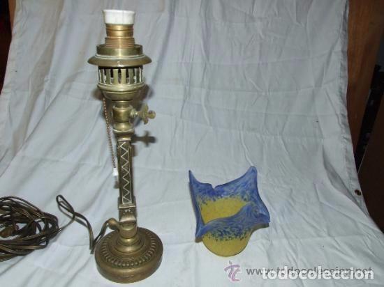 Antigüedades: LAMPARA MODERNISTA EN BRONCE DE SOBREMESA - Foto 4 - 142037002
