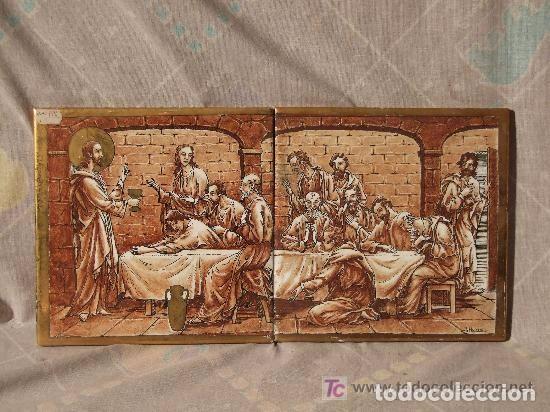 AZULEJOS CERAMICA SANTA CENA, FDO. J. HOMS,ALCORA (Antigüedades - Porcelanas y Cerámicas - Alcora)