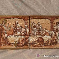 Antigüedades: AZULEJOS CERAMICA SANTA CENA, FDO. J. HOMS,ALCORA. Lote 142040142