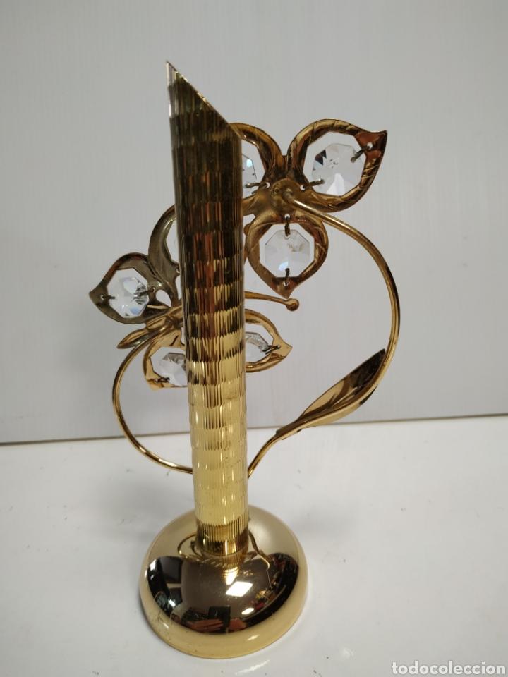 Antigüedades: Jarron metal dorado y cristal 17 cm - Foto 2 - 142040377