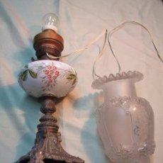 Antigüedades: QUINQUE ANTIGUO ESMALTADO, LAMPARA. Lote 142046226