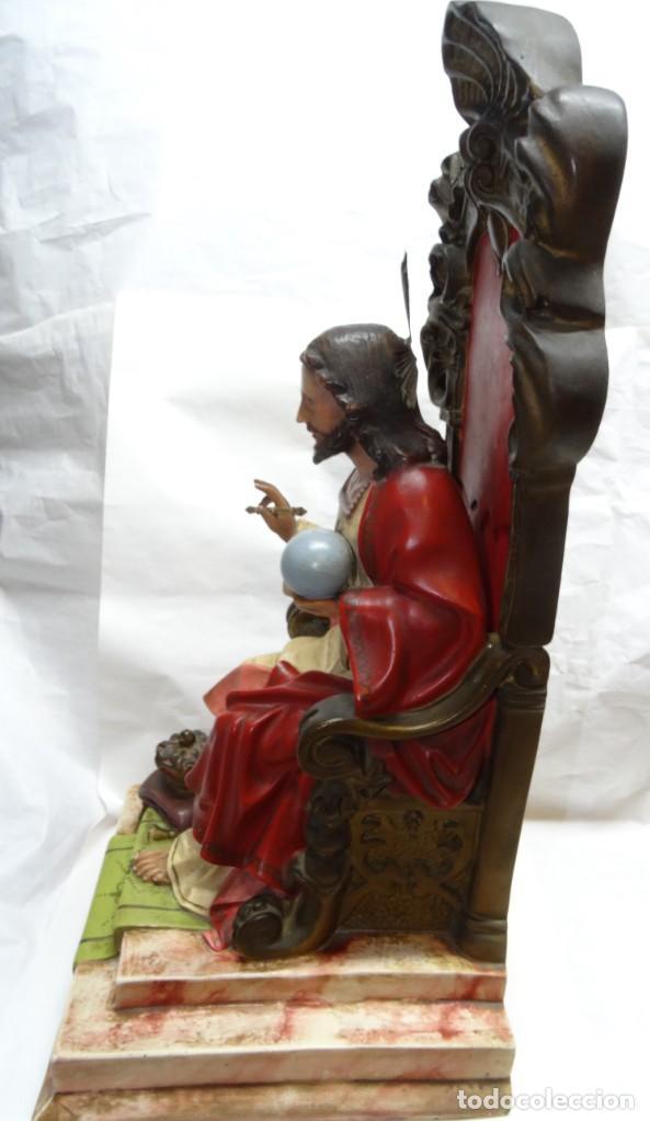 Antigüedades: Sagrado corazón entronizado. Estuco. - Foto 5 - 142047562