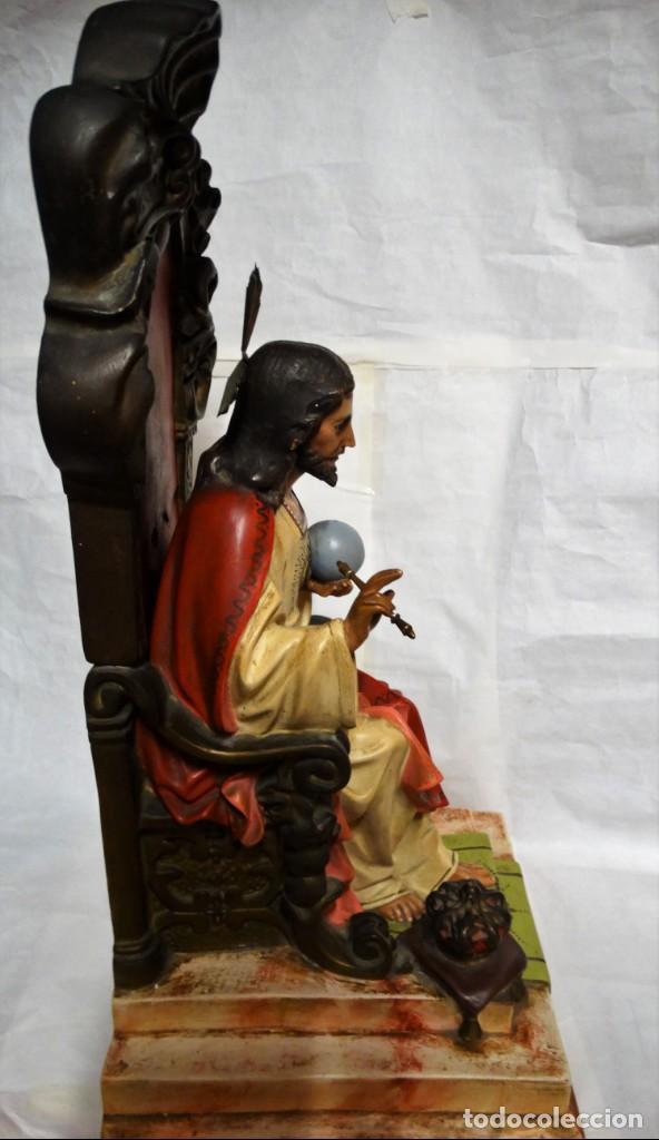 Antigüedades: Sagrado corazón entronizado. Estuco. - Foto 8 - 142047562