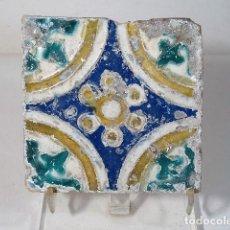 Antigüedades: AZULEJO DE TERUEL S.XVIII 12X12CM. Lote 142071122